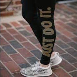 a0d78844bbc21 Nike Pants | Pro Just Do It Leggings Blackgold Sz Small | Poshmark